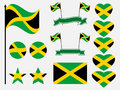 Jamaica flag set symbols, flag in heart. Vector Royalty Free Stock Photo