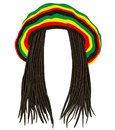 Jamaican rasta hat. Hair dreadlocks. reggae . funny avatar Royalty Free Stock Photo