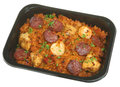 Jambalaya ready or microwave meal with chicken prawns and pepperoni sausage Stock Image