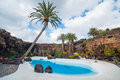 Jameos del agua lanzarote swimming pool in the spain Royalty Free Stock Image