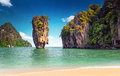 James Bond island near Phuket in Thailand. Famous landmark Royalty Free Stock Photo