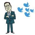 James Comey Vs Donald Trump Bird Icon. Cartoon Vector Illustration. June 12, 2017