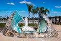 James T. Hubbell`s Sculpture/Fountain `Sea Passage`
