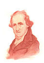 James Watt Watercolour Sketch Portrait Stock Image