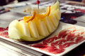 Jamon with melon delicious and a traditional spanish food Stock Images