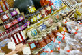 Jams and preserves homemade at farmers market Royalty Free Stock Photo
