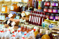 Jams and preserves homemade at farmers market Royalty Free Stock Photos
