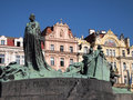 Jan hus memorial and art nouveau facades in stare mesto old town prague czech republic Stock Image