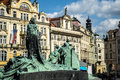 Jan Hus Memorial designed by Ladislav Saloun in Old town square prague Czech Republic Royalty Free Stock Photo