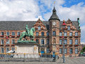 Jan wellem equestrian monument and old town hall in dusseldorf of johann wilhelm ii of germany the was erected the oldest Royalty Free Stock Photo