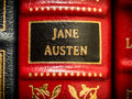 Jane austen author on spine of leather book Stock Photo