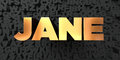Jane - Gold text on black background - 3D rendered royalty free stock picture