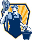 Janitor cleaner hold mop bucket shield retro illustration of a worker holding and water pail viewed from low angle done in style Stock Image