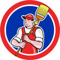 Janitor cleaner holding broom circle cartoon illustration of a worker sweep viewed from front set inside done in style Stock Image
