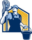 Janitor cleaner holding mop bucket retro illustration of a worker and water pail viewed from low angle done in style Royalty Free Stock Images