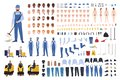 Janitor creation set or constructor kit. Bundle of cleaner`s body parts, gestures, uniform, equipment, floor polisher