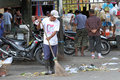 Janitor was sweeping trash in a market in the city of solo central java indonesia Stock Photos