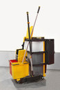 Janitorial cart heavy duty plastic with all equipment Royalty Free Stock Photo