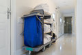 Janitorial cart in white hotel Royalty Free Stock Photo