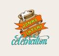 Janmashtami celebration logo design with clay pot with sour crea