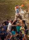 Janmashtami celebration matki fod celebrations by breaking a pot full of butter forming a human pyramid indian traditional Stock Images
