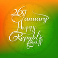 January beautiful calligraphy happy republic day text tricolor background design Stock Images