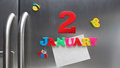 January 2 calendar date made with plastic magnetic letters Royalty Free Stock Photo