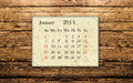 January calendar of on the wooden background Royalty Free Stock Photo