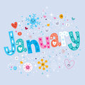 January decorative lettering type design Stock Images