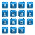January flat calendar icons with long shadow days of year set this is file of eps format Royalty Free Stock Image