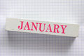 January month printed on wooden block Stock Photography