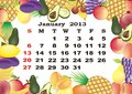 January - monthly calendar 2013 Stock Images