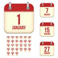 January vector calendar icons this is file of eps format Royalty Free Stock Photo