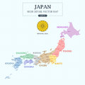 Japan Administrative Map Full Color High Detail Separated all Province