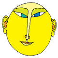 Japan character linear drawing color Royalty Free Stock Photo