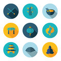 Japan china icons in vector format best flat Royalty Free Stock Image