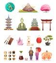 Japan Culture Retro Cartoon Icons Set