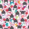 Japan doll rabbit not lonely seamless pattern