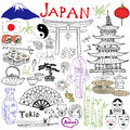 Japan doodles elements. Hand drawn set with Fujiyama mountain, Shinto gate, Japanese food sushi and tea set, fan, theater masks, k Royalty Free Stock Photo