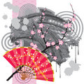 Japan fan with a blot Stock Image