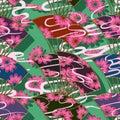 Japan fan flower style vertical seamless pattern
