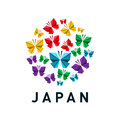 Japan icon with butterfly origami in white background