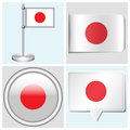 Japan flag set of sticker button label and fla various flagstaff Stock Photography