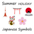 Japan Flat Icons Design Travel Concept.Vector Royalty Free Stock Photo