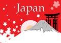 Japan Fuji mountain with sakura flower Royalty Free Stock Photo