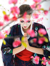 Japan geisha woman with creative make-up Royalty Free Stock Images
