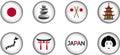 Japan Glossy Icon Set Royalty Free Stock Photo