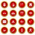 Japan icon red circle set