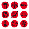 Japan icons located to circle red