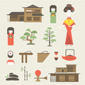 Japan icons vector set of various stylized japanese Stock Images